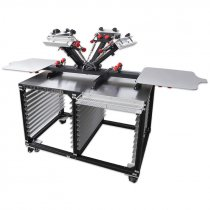 Máquina de serigrafía manual de 4 colores con rack de secado