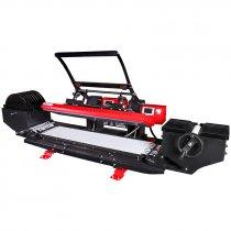 Plancha transfer para lanyards con sistema de alimentación y recogida de cinta