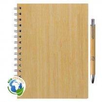 Set de libreta y bolígrafo de bambú