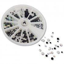 Surtido pedrería cristal 420 piezas en disco dispensador - colores transparente y negro - Disco y pedrería suelta
