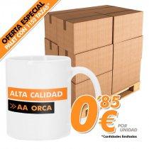 Taza blanca para sublimación alta calidad AAorca - Palet de 1152 uds