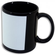Black-coloured mug with a printable patch - Side - White patch details