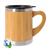 Taza termo de acero inoxidable y bambú con tapa