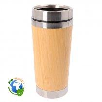 Vaso termo de 500ml de acero inoxidable y bambú con tapa