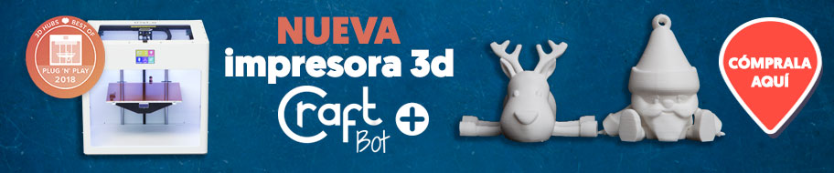 Compra la mejor impresora 3d plug and play del mercado: la nueva Craftbot +  Con la que podrás imprimir objetos tridimensionales de hasta 25x20x20 cm usando filamentos de 1,75 mm como PLA, ABS, PVA, PETG, HIPS, NYLON entre otros. Un impresora 3d fácil y rápida con una calidad excepcional.