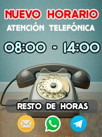 Horario de atención telefónica Brildor de 08:00 a 14:00
