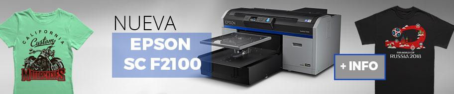 La nueva impresora de camisetas EPSON F2100 ya está a la venta en Brildor. Con ella podrás imprimir prendas de algodón en pocos segundos. Su tintas Ultrachrome de alta calidad te permitirán estampar sobre camisetas de cualquier color con una calidad y durabilidad excepcional. Ahora con mejoras respecto a la F2000.