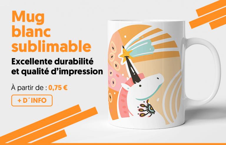 Mug blanc sublimable - Excellente durabilité et qualité d'impression