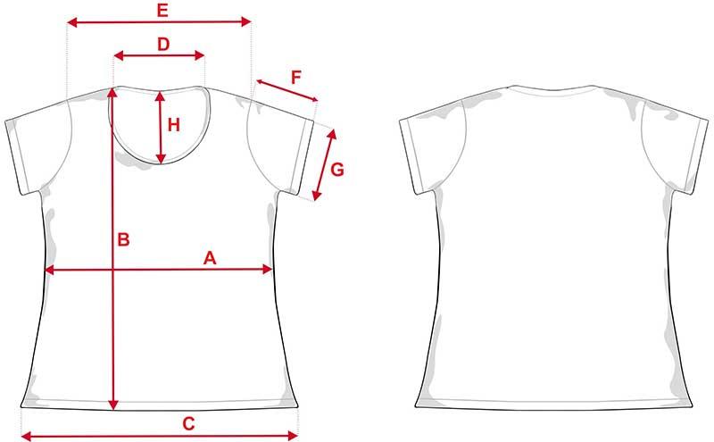 Esquema camiseta de chica para sublimación de 140gr tacto alg