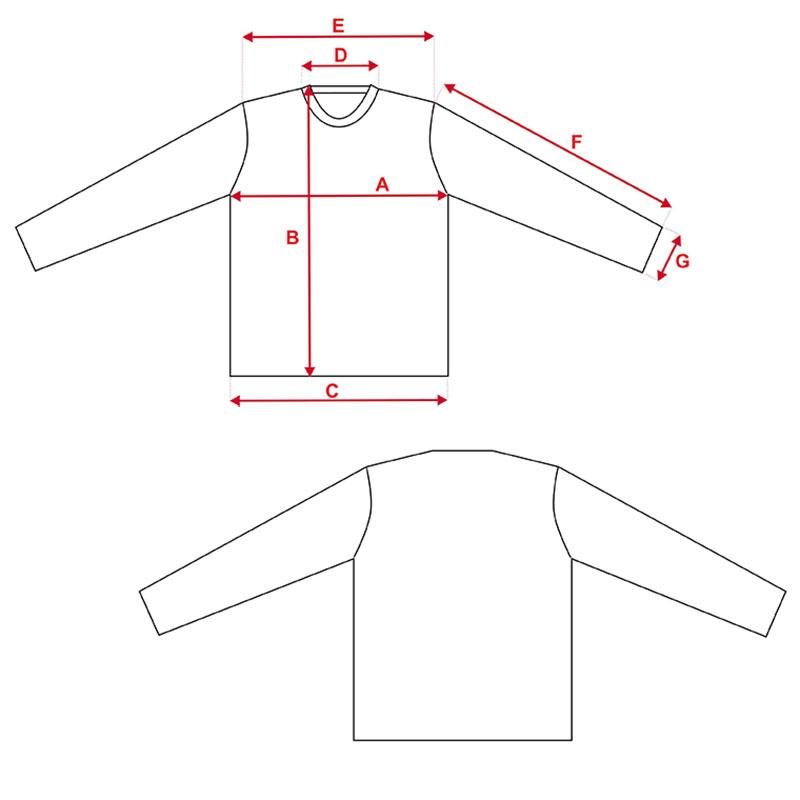 Esquema camiseta Vapor Apparel con protección solar manga larga