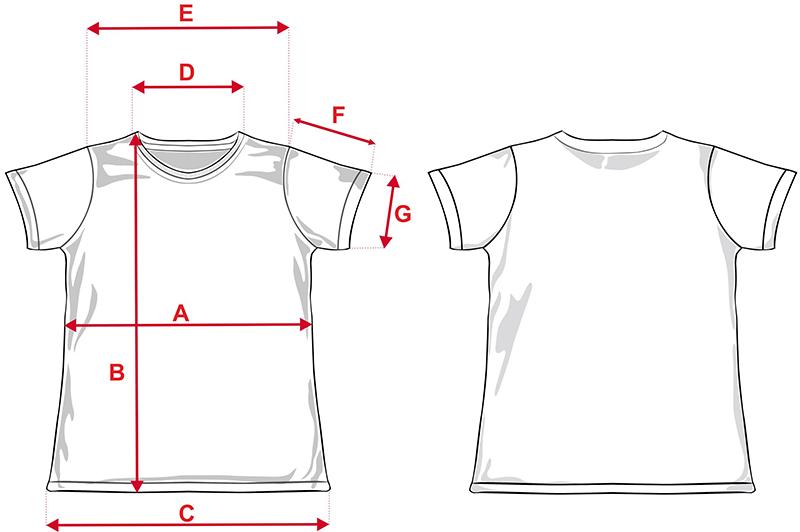 Esquema camiseta de chica para sublimación de 140g