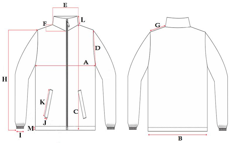 Medidas chaqueta blanca con interior polar y cremallera