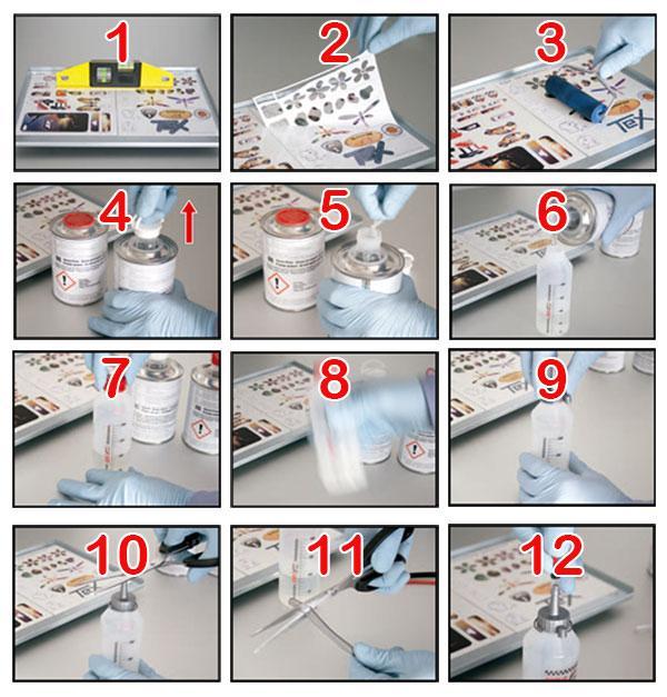 Instrucciones kit de gota de resina Fast Drop para aplicación manual