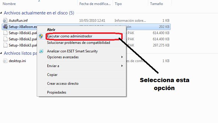 Instalación software de globos - paso 1